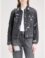 7 For All Mankind Studded denim boyfriend jacket