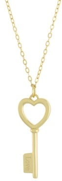 "Giani Bernini Heart & Key Pendant Necklace, 16"" + 2"" extender, Created for Macy's"