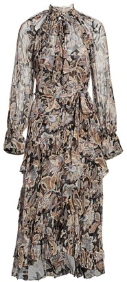 Zimmermann Ladybeetle Ruffle Tie-Waist Dress