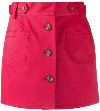 RED Valentino Button-Through High-Rise Sateen Skorts