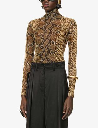 Dries Van Noten Snakeskin-print semi-sheer stretch-mesh top