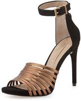 BCBGMAXAZRIA Dena Leather/Suede Strappy Sandal, Bronze/Black