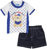 Sweet & Soft Red Star Baseball Bear Tee & Denim Shorts Set - Infant