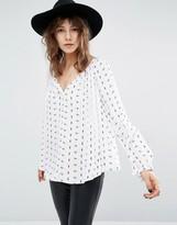 Suncoo Buttondown Smock Shirt in Print