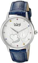 Burgi Women's BUR149BU Silver Quartz Watch With Swarovski Crystal Accented Dial and Blue Embossed Leather Strap