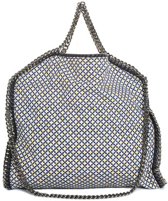 Stella McCartney Blue & White Canvas Geometric Falabella Bag
