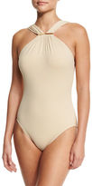 MICHAEL Michael Kors Long Bar High-Neck One-Piece Swimsuit
