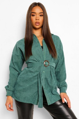boohoo Cord Belted Oversized Shirt