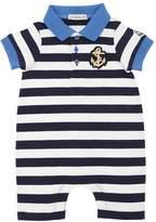 Moncler Cotton Jersey Romper W/ Logo