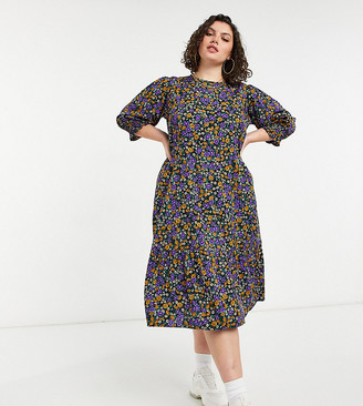 Yours midi smock dress in purple floral