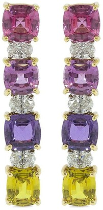 Bayco 18kt White Gold And Platinum Natural Unheated Multi-Color Sapphire And Diamond Earrings