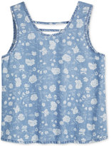 Tinsey Floral-Print Bar-Back Tank Top, Big Girls (7-16)