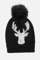 Fashion to Figure Fur Pom Hat With Sequin Reindeer