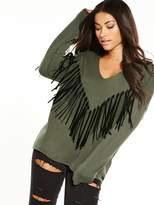 Replay Fringed Jumper - Olive
