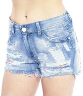 Qiyuxow Women's Juniors Distressed Cut Off Ripped Jean Shorts High Waisted Denim Shorts (L, )