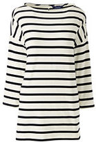 Lands' End Women's Petite Drop Shoulder Tunic Top-Ivory Stripe