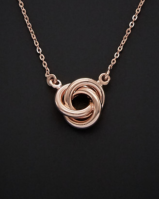 Italian Gold 14K Rose Gold Love Knot Necklace