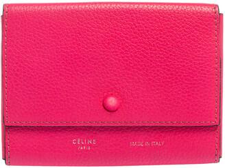 Celine Noen Pink Grained Leather Snap Flap Pouch