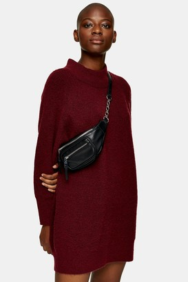 Topshop Womens Burgundy Super Soft Oversized Knitted Dress - Mulberry