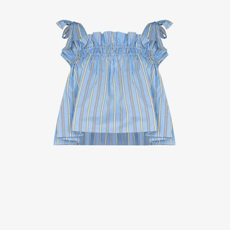 Ganni Striped Smocked Cotton Top