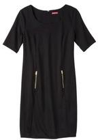 Merona Women's Zipper Front Ponte Dress - Black Opaque