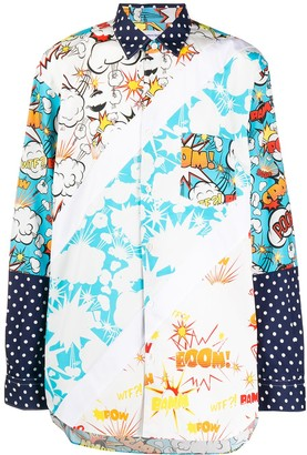 Comme des Garcons long-sleeved print-mix shirt