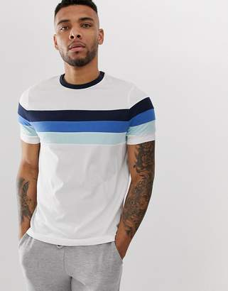 Asos DESIGN organic t-shirt with contrast body and sleeve panels in blue and white