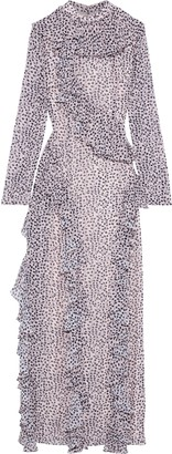 Mikael Aghal Ruffled Printed Chiffon Maxi Dress