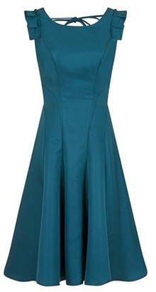 Dorothy Perkins Womens Chi Chi London Teal Pleated Midi Skater Dress, Teal