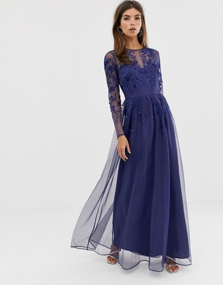 Asos DESIGN long sleeve maxi dress in embroidered mesh