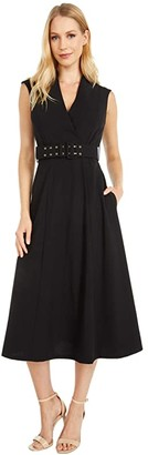 Calvin Klein Belted Surplus Neck A-Line Midi Dress (Black) Women's Dress
