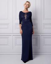 Le Château Lace & Knit Crêpe Illusion Gown