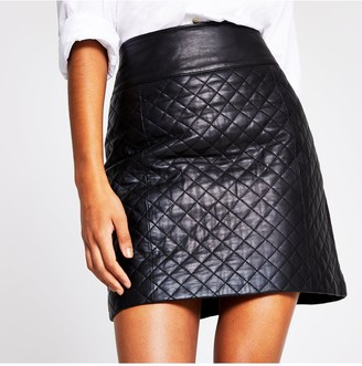 River Island Leather Quilted Mini Skirt - Black
