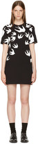 McQ by Alexander McQueen Black and White Swallows T-shirt Dress