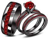 Dabangjewels Rd Red Garnet His & Her Trio Ring Set In Gold Plated Ladies Bridal & Men Wedding Band Ring