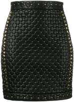Balmain Matelassé studded mini skirt