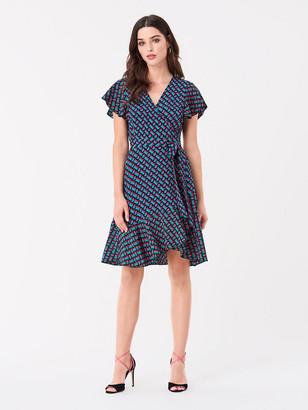 Diane von Furstenberg Avaya Ruffled Crepe Mini Wrap Dress