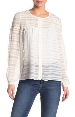 Frame Smocked Yoke Semi Sheer Stripe Shirt