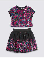 Marks and Spencer Sequin Top with Skirt (3-14 Years)