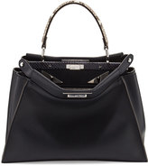 Fendi Peekaboo Medium Mirror Monster Eyes Satchel Bag, Navy