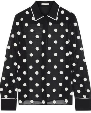 Alice + Olivia Polka-dot Sequin-embellished Chiffon Shirt