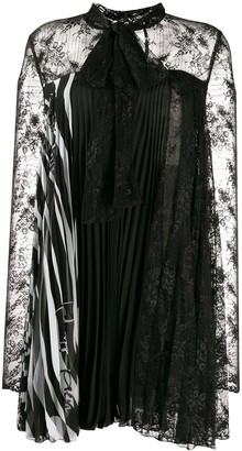 Philipp Plein Pleated Lace Dress