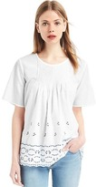 Gap Pintuck eyelet short sleeve top