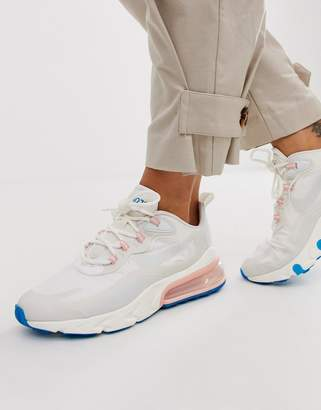 Nike white pink and blue Air Max 270 React Sneakers