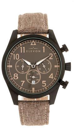 Elevon Men Curtiss Chronograph Genuine Leather Strap Watch 46mm