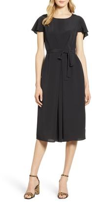 Bobeau Pleated Woven Dress