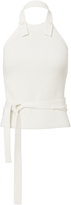 Helmut Lang Ribbed Knit Button-Back Halter Top