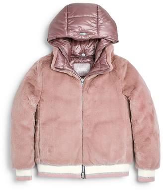 Herno Girls' Teddy Faux-Fur Bomber Jacket - Little Kid, Big Kid