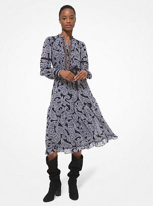 MICHAEL Michael Kors MK Lace Trim Paisley Georgette Dress - Black/white - Michael Kors