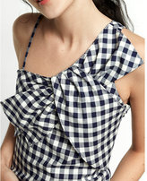 Express gingham asymmetrical bow dress
